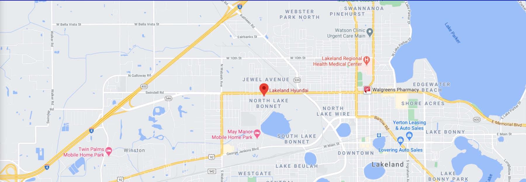 Lakeland Hyundai Map