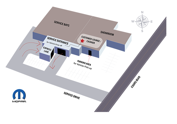 melloy dodge service center illustrative map