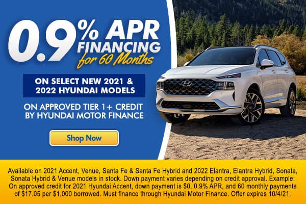 <!-- 0.9% APR Financing for 60 months -->