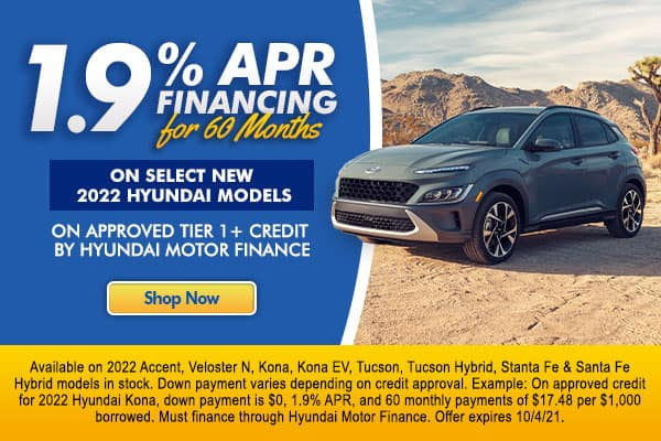 <!-- 1.9% APR Financing for 60 months -->