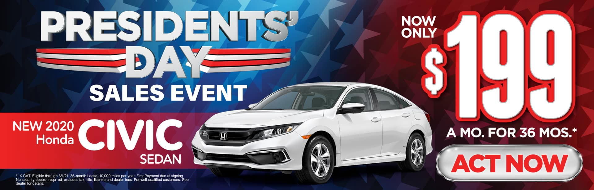 New 2020 Honda Civic - Only $199 a month - Act Now