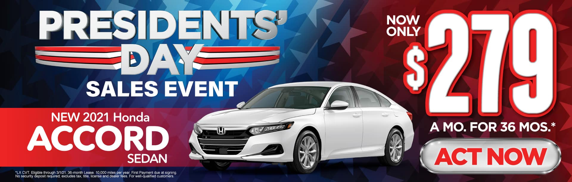 New 2021 Honda Accord - Only $279 a month - Act Now