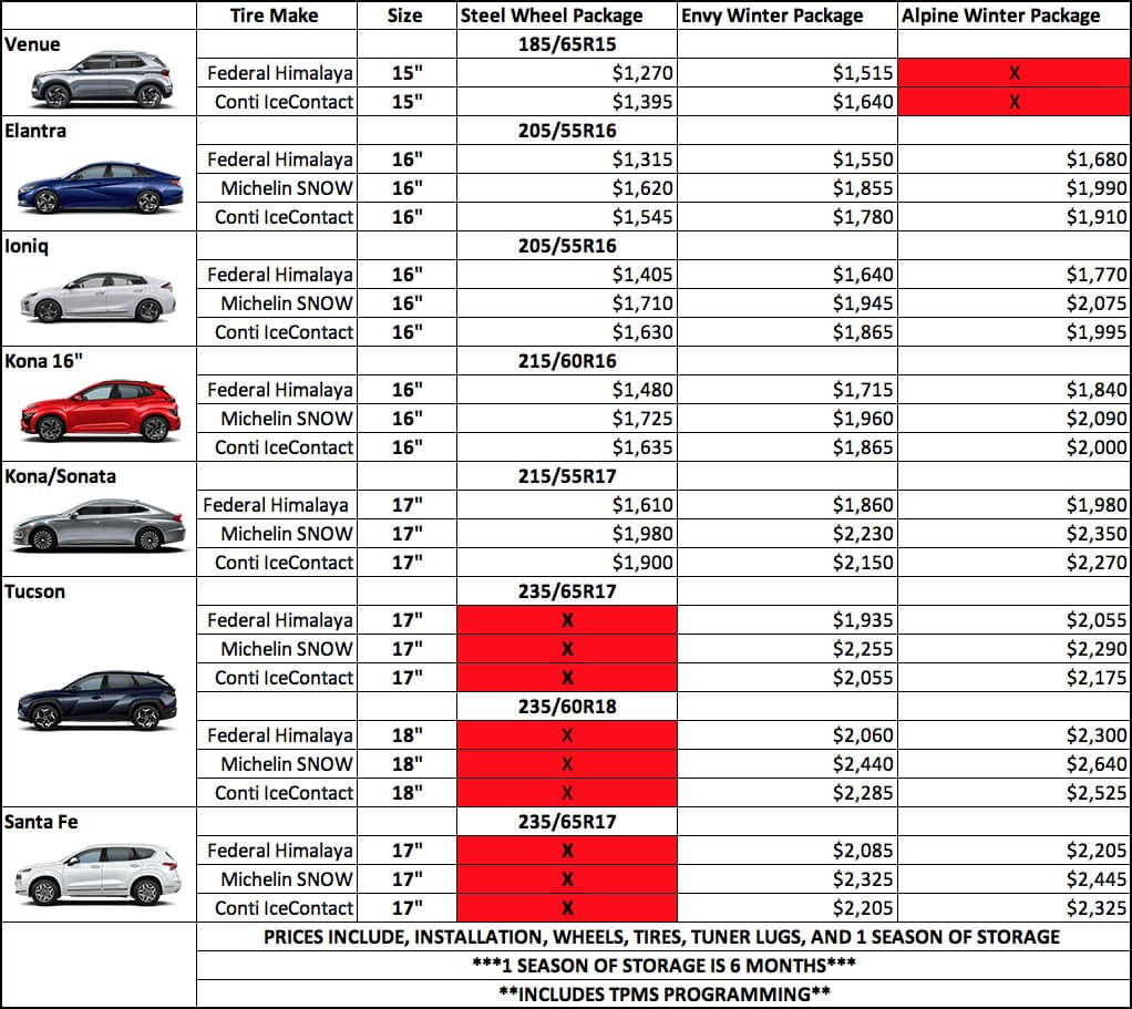 Precision Hyundai Winter Tires