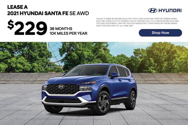 Lease a 2021 Hyundai Santa Fe SE AWD