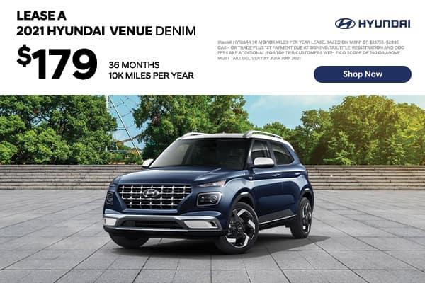 Lease a 2021 Hyundai Venue Denim