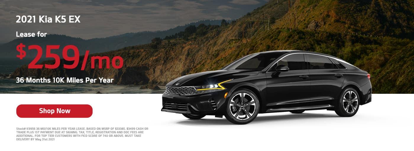 Lease a 2021 Kia K5 EX, $259/mo 36 Months 10K Miles Per Year,