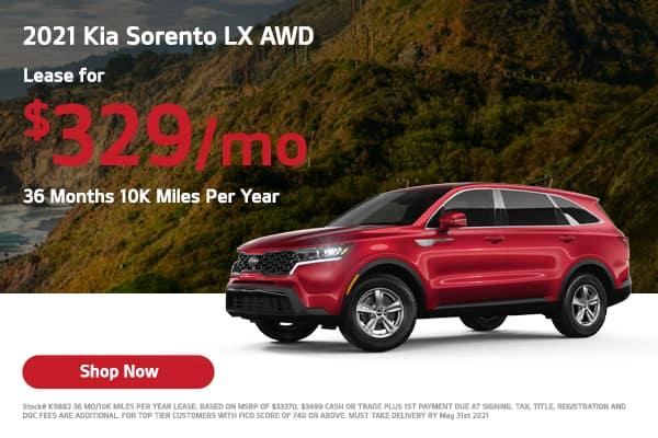 Lease a 2021 Kia Sorento LX AWD