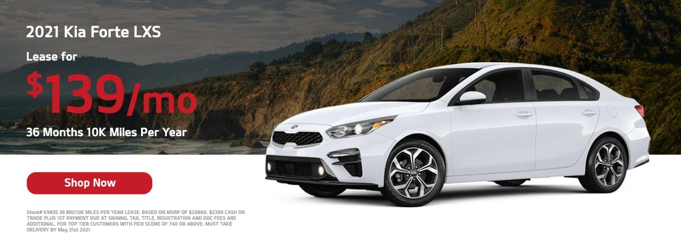 Lease a 2021 Kia Forte LXS, $139/mo 36 Months 10K Miles Per Year
