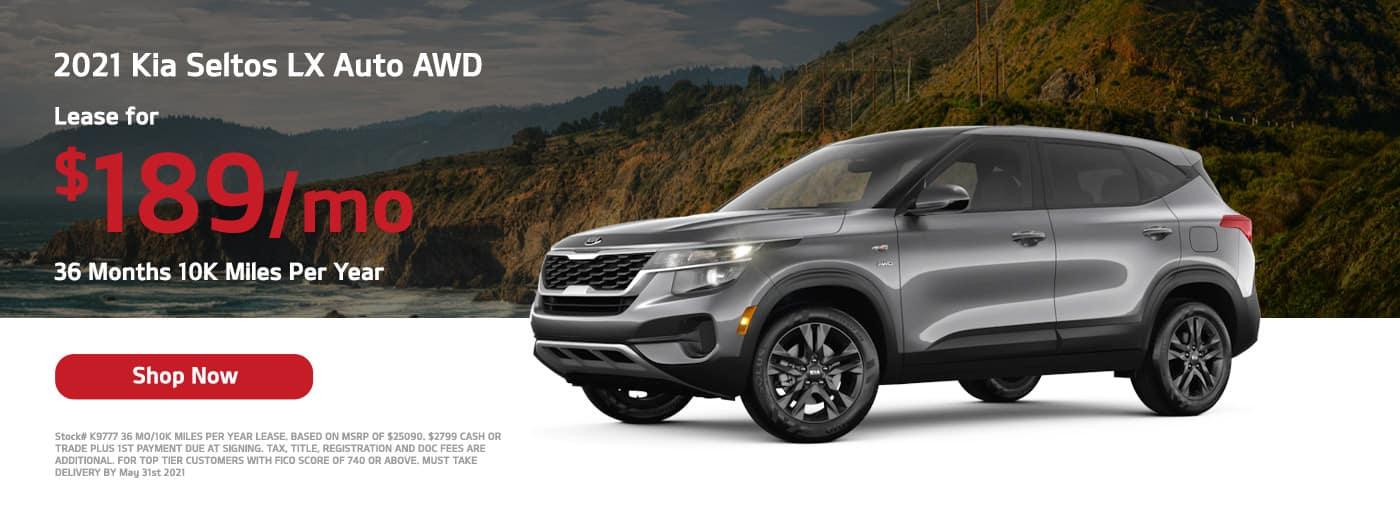 Lease a 2021 Kia Seltos S Auto AWD, $189/mo 36 Months 10K Miles Per Year