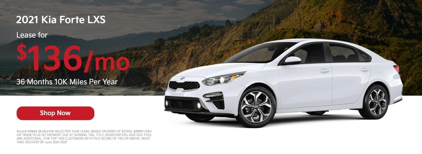 Lease a 2021 Kia Forte LXS. $136/mo 36 Months 10K Miles Per Year