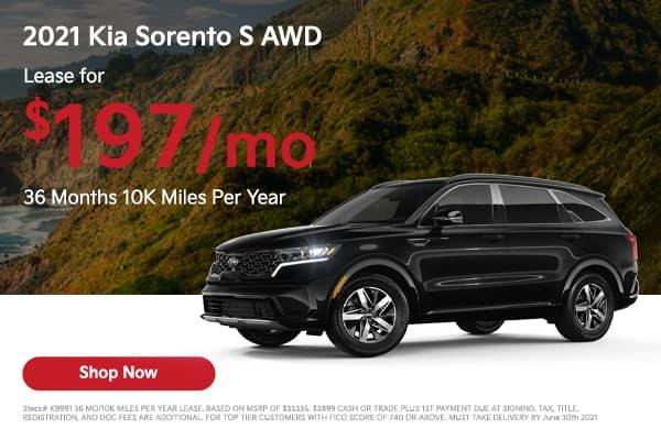 Lease a 2021 Kia Sorento S AWD