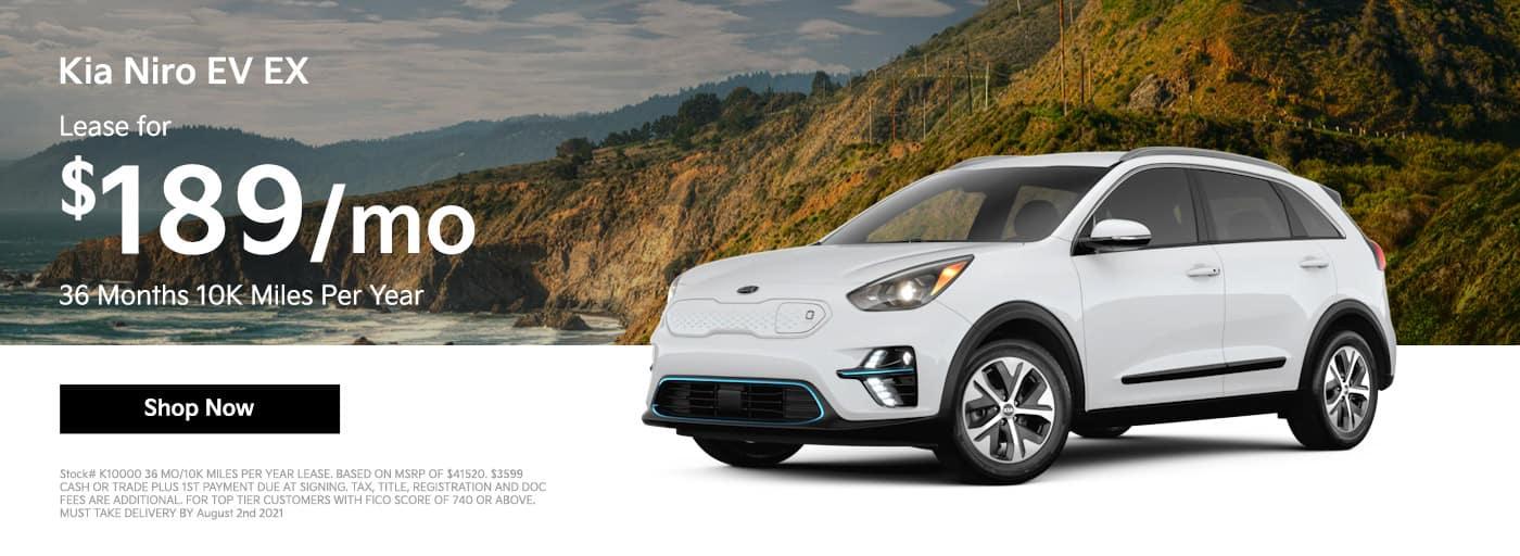 Lease a 2021 Kia Niro EV EX $189/mo 36 Months 10K Miles Per Year
