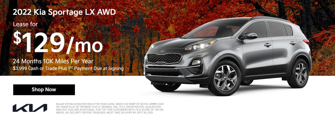 Lease a 2022 Kia Sportage LX AWD for $129/mo 24 Months 10K Miles Per Year $3999 CASH OR TRADE PLUS 1ST PAYMENT DUE AT SIGNING