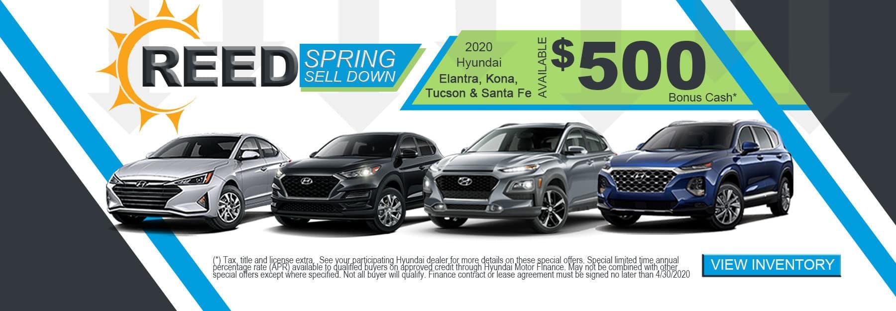 2020 Hyundai Elantra, Kona, Tucson, and Santa Fe
