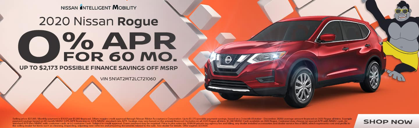 2020 Nissan Rogue | 0% APR For 60 Months Plus Up To $2,173 Possible Finance Savings Off MSRP