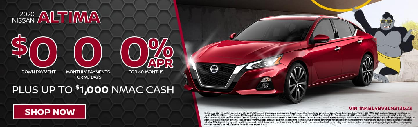 2020 Nissan Altima | $0 Down Payment 0 Monthly Payments For 90 Days 0% APR For 60 Months Plus Up To $1,000 NMAC Cash