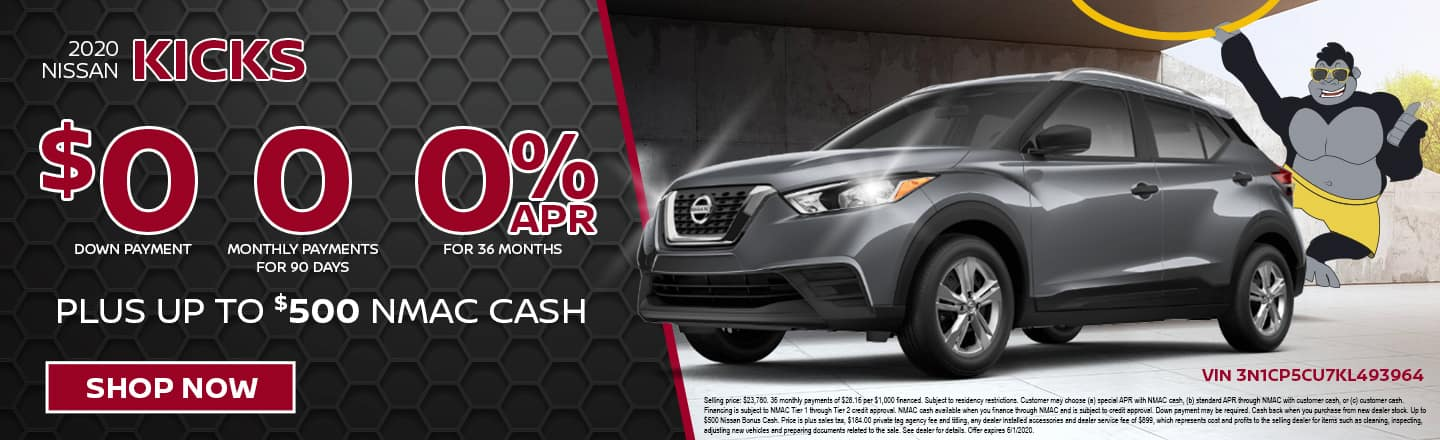 2020 Nissan Kicks | $0 Down Payment + 0 Monthly Payments for 90 Days + 0% APR Financing For 36 Months Plus Up To $500 NMAC Cash