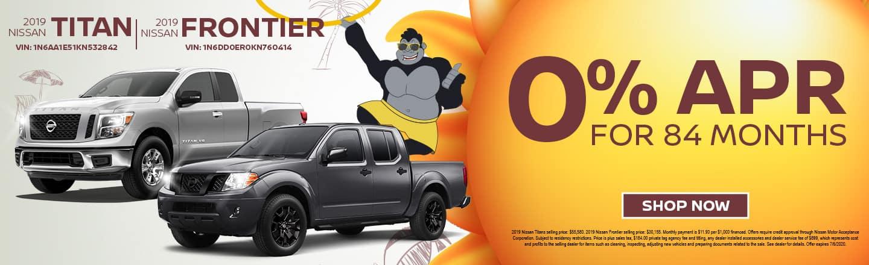 2019 Nissan Titan & 2019 Nissan Frontier | 0% APR For 84 Months