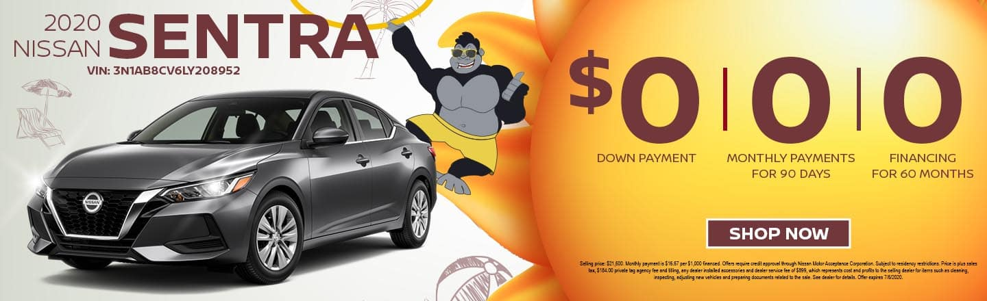 2020 Nissan Sentra | $0 Down Payment | 0 Monthly Payments for 90 Days | 0% Financing For 60 Months