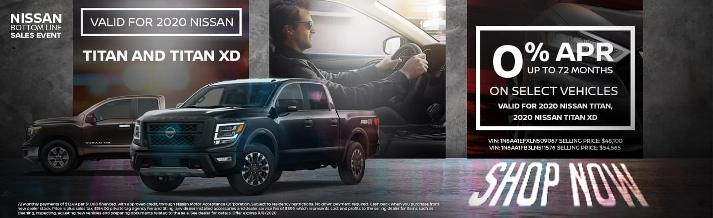20202 Nissan Titan and 2020 Nissan Titan XD | 0% APR For Up To 72 Months On Select Trims | Nissan Bottom Line Sales Event