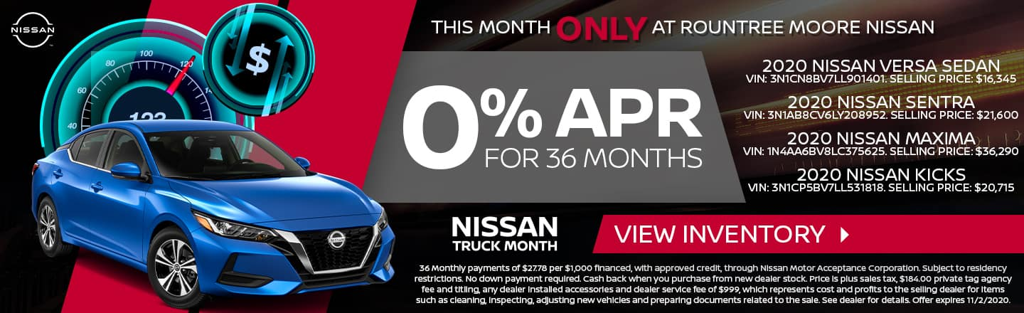 This Month Only At Rountree Moore Nissan | 0% APR For 36 Months | Nissan Truck Month
