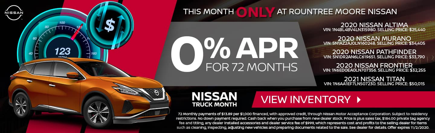 This Month Only At Rountree Moore Nissan | 0% APR For 72 Months | Nissan Truck Month