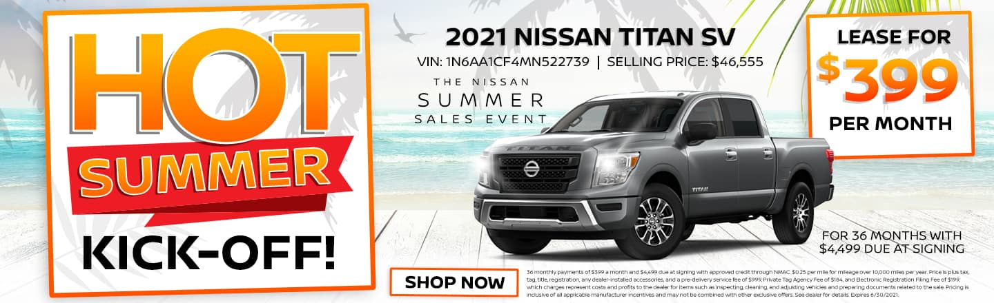 Hot Summer Kick-Off!   2021 Nissan Titan SV   Lease For $399 Per Month For 36 Months With $4,499 Due At Signing