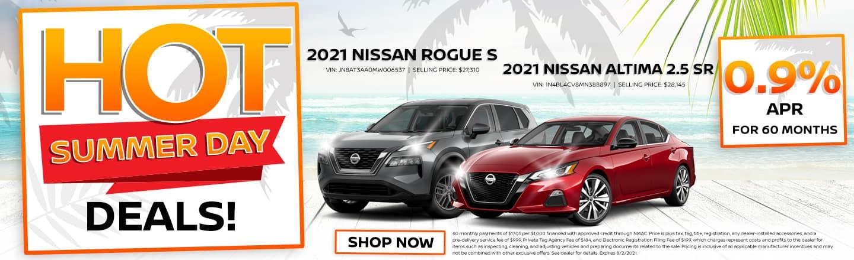 Hot Summer Day Deals! | 2021 Nissan Altima 2.5 SR & 2021 Nissan Rogue S | 0.9% APR For 60 Months