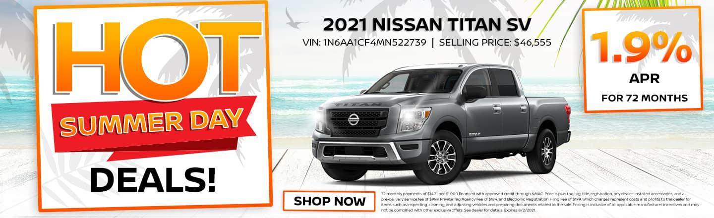 Hot Summer Day Deals! | 2021 Nissan Titan SV | 1.9% APR For 72 Months