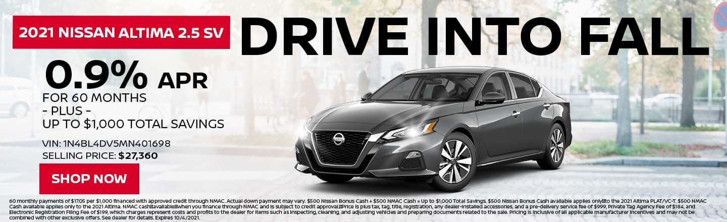 Drive Into Fall | 2021 Nissan Altima 2.5 SV | 0.9% APR For 60 Months – PLUS – Up To $1,000 Total Savings