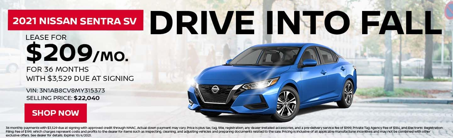 Drive Into Fall | 2021 Nissan Sentra SV | Lease For $209/Month For 36 Months With $3,529 Due At Signing