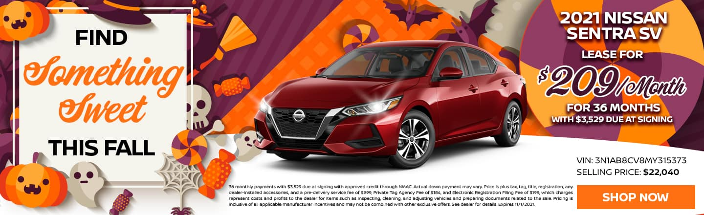 Find Something Sweet This Fall | 2021 Nissan Sentra SV | Lease For $209/Month For 36 Months With $3,529 Due At Signing