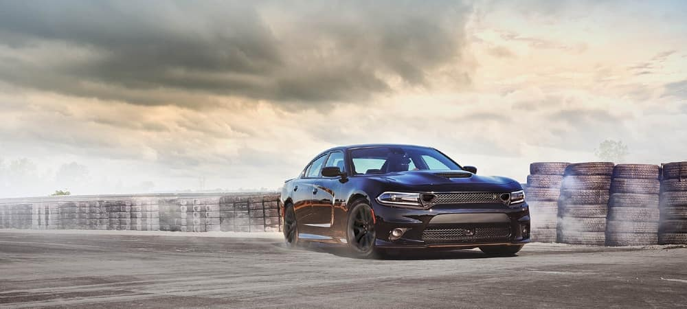 dodge charger driving through course
