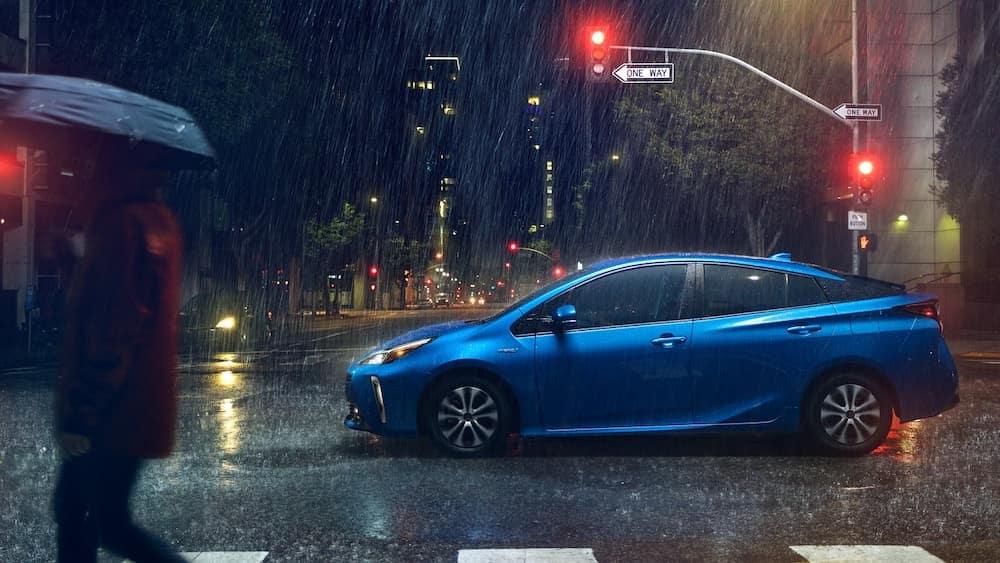 2020 Prius driving in the rain at night