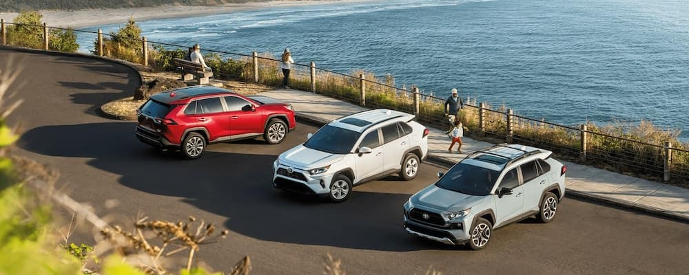 2020 Toyota RAV4 models parked by the coast