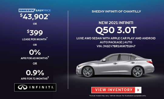 2021 Q50 3.0T LUXE AWD WITH APPLE CAR PLAY AND ANDROID AUTO PACKAGE: