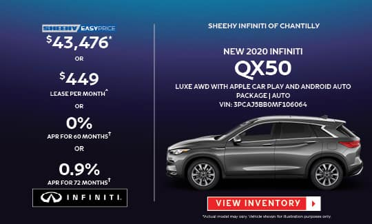 2020 QX50 LUXE AWD WITH APPLE CAR PLAY AND ANDROID AUTO PACKAGE