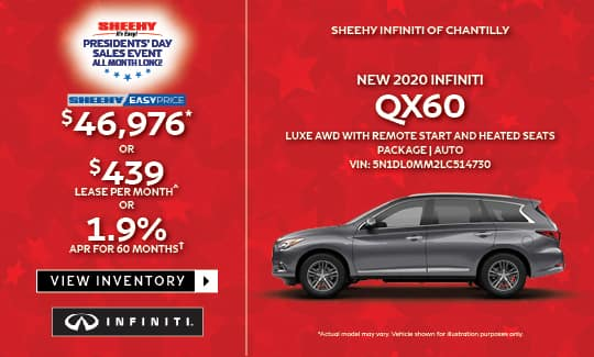 2020 QX60 LUXE AWD WITH REMOTE START AND HEATED SEATS PACKAGE