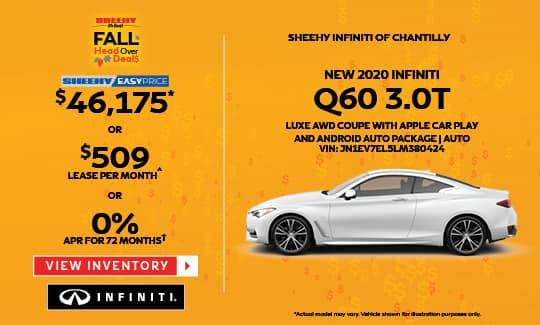 2020 Q60 3.0T LUXE AWD COUPE WITH APPLE CAR PLAY AND ANDROID AUTO PACKAGE