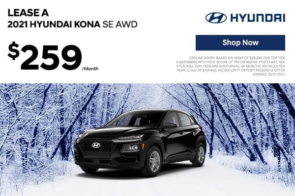Lease a 2021 Hyundai Kona SE AWD