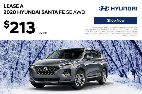 Lease a 2020 Hyundai Santa Fe SE AWD
