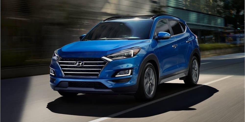 Blue 2020 Hyundai Tucson on City Road