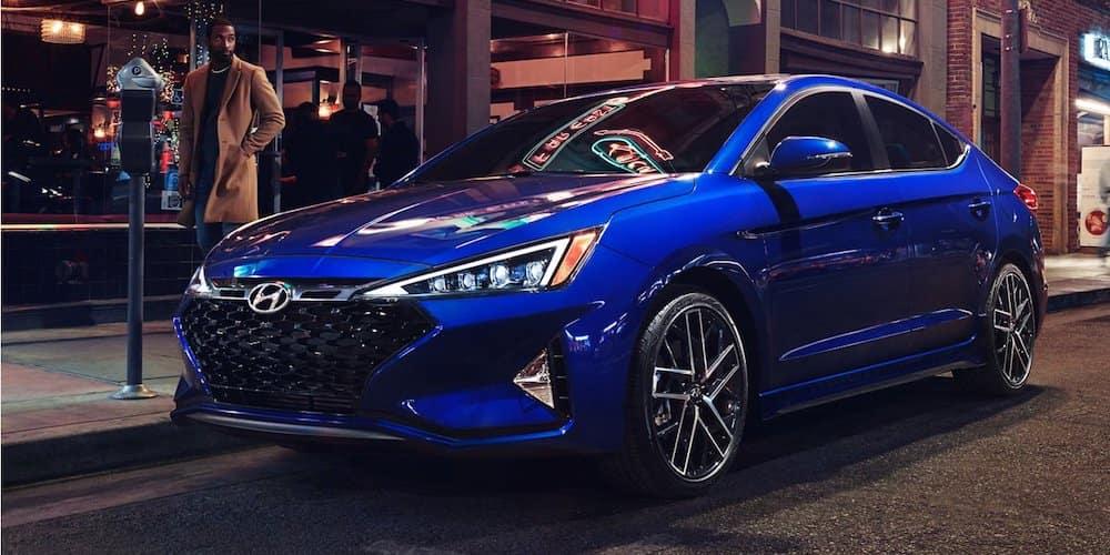Blue 2020 Hyundai Elantra Parked on Curb