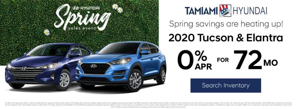 2020 Hyundai Tucson & Elantra 0% APR for 72 MONTHS