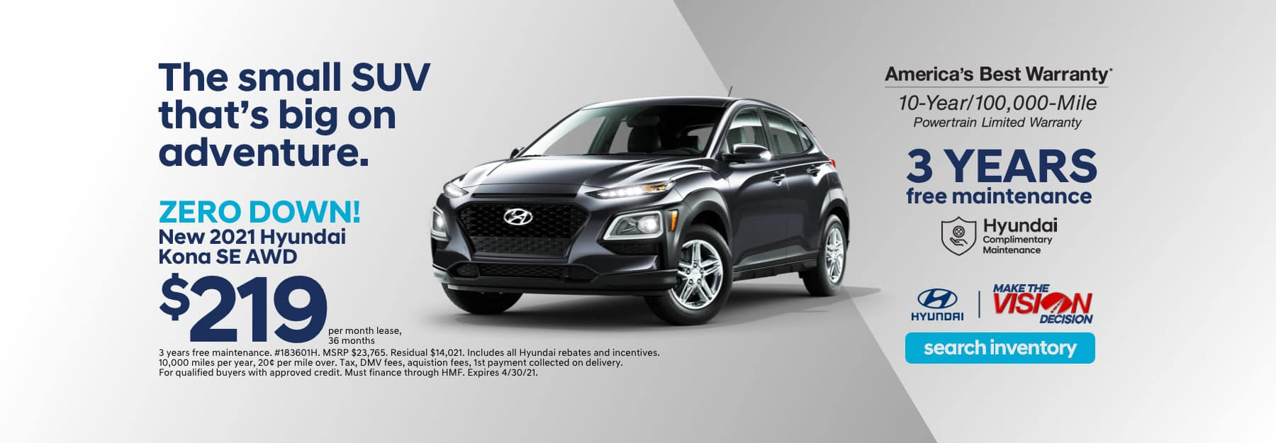 Kona Showroom Special Lease Offer