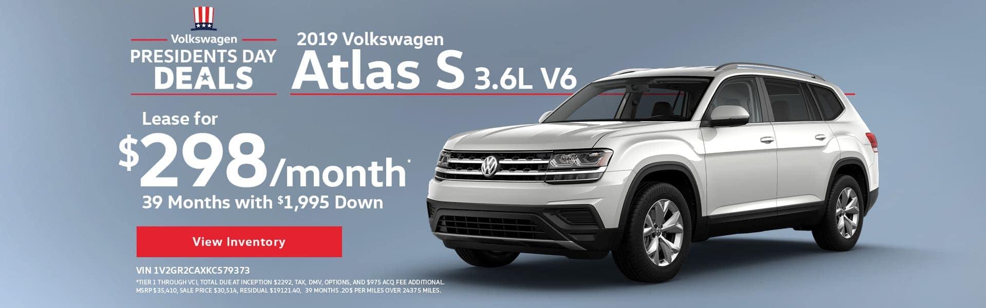 Presidents Day Deals - 2019 Volkswagen Atlas S