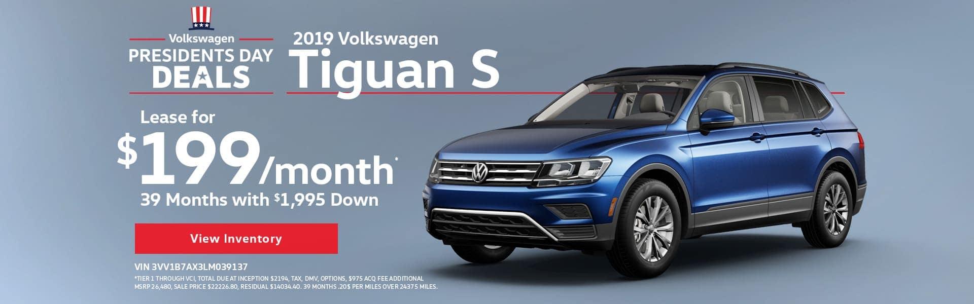Presidents Day Deals - 2019 Volkswagen Tiguan S