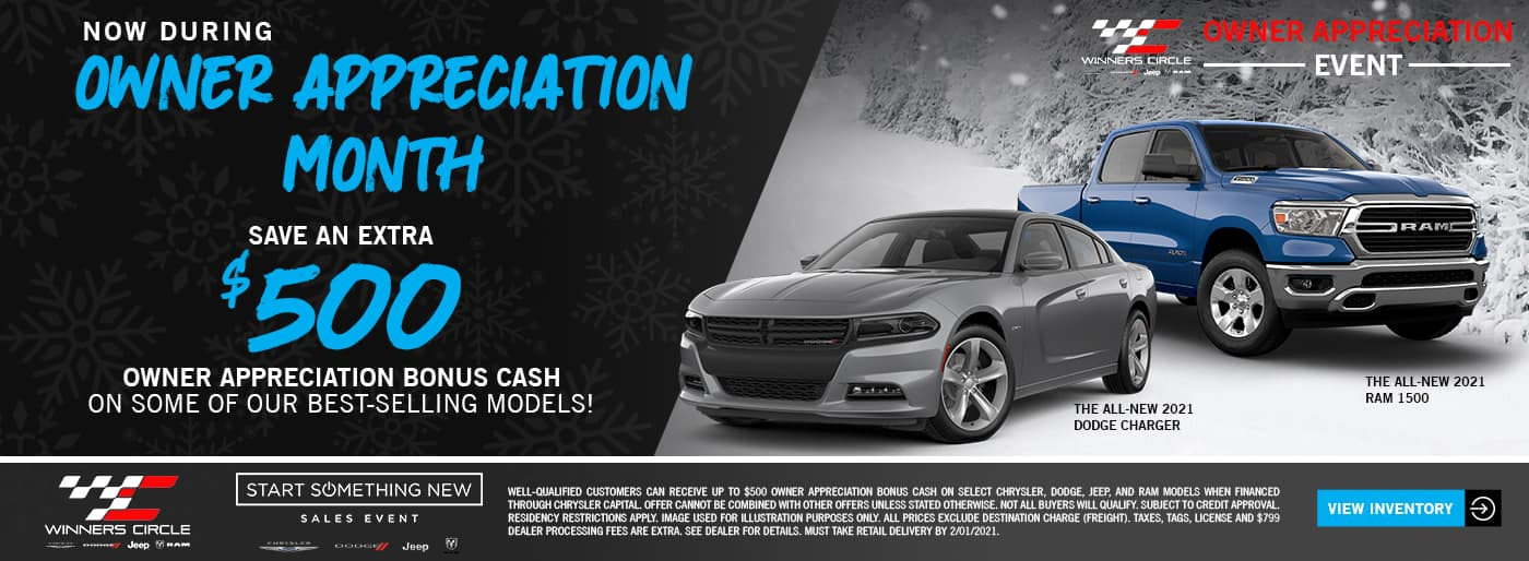 Now during Owner Appreciation Month - Save an extra $500 Owner Appreciation Bonus Cash on some of our best-selling models!
