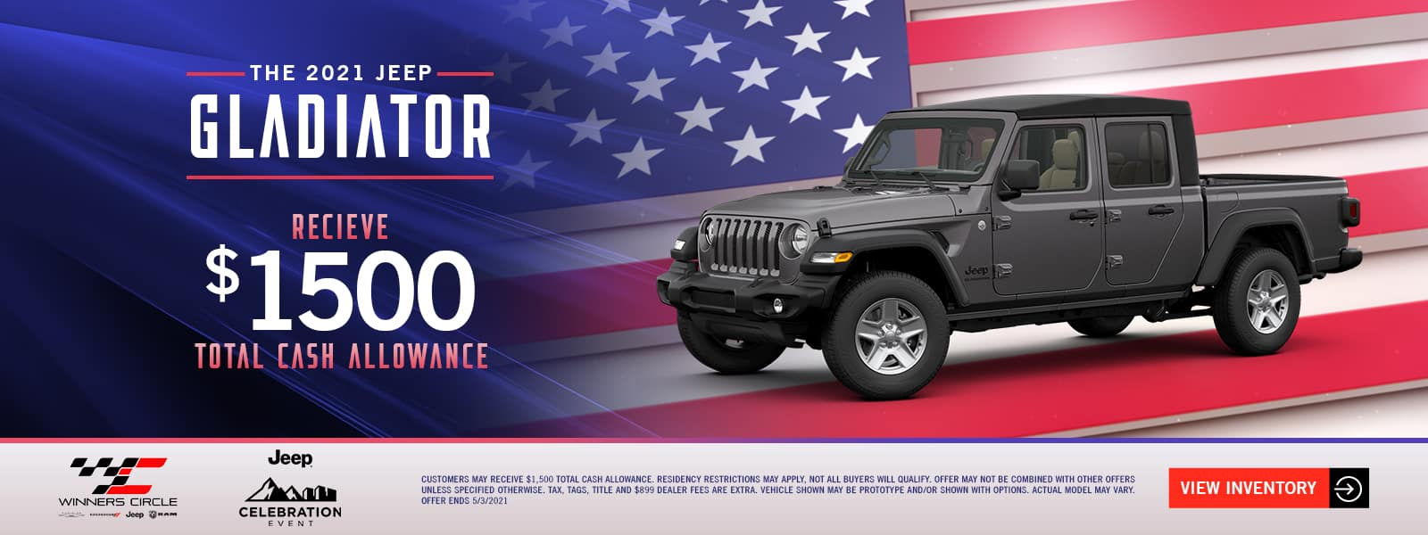 The 2021 Jeep Gladiator - receive $1,500 total cash allowance!